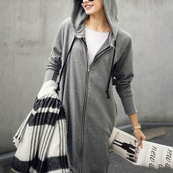 Hooded Zip-Up Long Coat