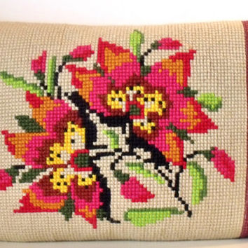 Large French cross stitch Wool Tapestry Needlepoint Poinsetta reworked Tweed Linen Pillow Cushion Cover