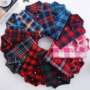 Brand Quality Plaid Shirt Female College Style Women Blouses Long Sleeve Flannel Girls Shirt Plus Size Cotton Blusas Office tops