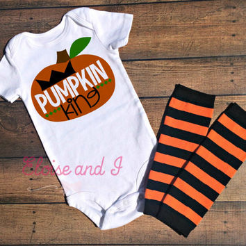 halloween baby outfit, baby boy pumpkin king, halloween baby shower gift, fall baby clothes, halloween shirt, toddler halloween costume
