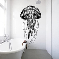 Jellyfish Wall Decal, Jellyfish Wall Sticker, Jellyfish Bathroom Wall Decor, Sea Life Wall Decor, Beach House Decor, Marine Wall Art se039