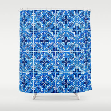 Sevilla - Spanish Tile Shower Curtain by heatherduttonhangtightstudio