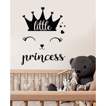 Vinyl Wall Decal Crown Little Princess Logo Words Room Decor Stickers (3340ig)