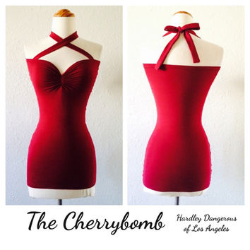 CLEARANCE Sale, Burgundy Wine Casual ROCKABILLY Stretch Knit Halter Top, Lightweight Spring Summer Shirt, Pin Up, Cross Front Halter Top