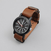 journal standard - timex x js camper watch with leather band brown