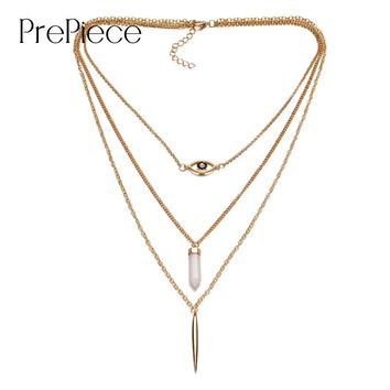 PrePiece women 3 layer alloy long necklace pendant with metal bar eye natural stone plating Gold fashion jewelry cheap PN0034