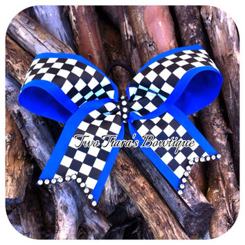Royal Blue Racer Cheer style bow with Bling