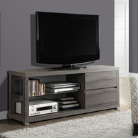 "Dark Taupe Reclaimed-Look 60""L Tv Console/ Tempered Glass"