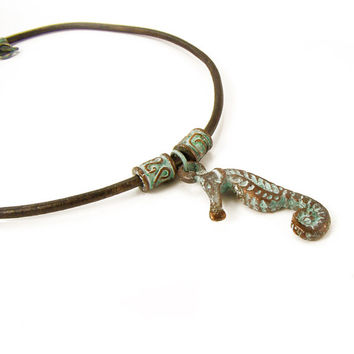 Sea Horse Pendant Necklace, Nautical Necklace, Green Patina Necklace, Leather Necklace