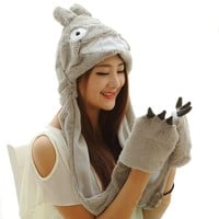 Funnie 21 Novelty Animal HAT Cosplay CAP - Unisex Fit Adult & Children- Soft Warm Headwraps Headwear with Mittens (Totoro)