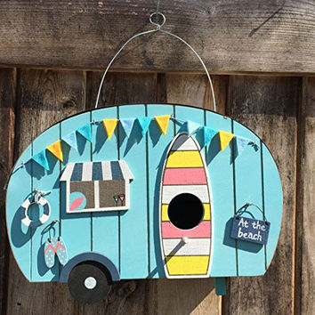 """The Surf Bum Bird House, At the Beach, Retro Camper Cruiser, Plywood with Metal, 10 ¼ L x 4 ¼ W x 6 ½ D""""(27 x 11 x 17 cm)From Our Beach Chic Collection, By Whole House Worlds"""