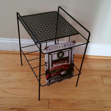 Vintage Black Wire Mid Century Magazine Telephone Plant Stand Table Shelf