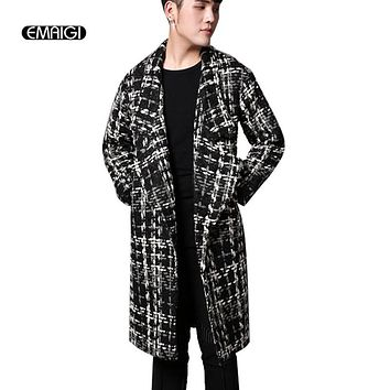 Men's Wool Cardigan Jackets Winter Thick Warm Long Coat Plaid Jacket Street Fashion Male Punk Overcoat