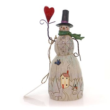 Jim Shore Snowman With Heart Christmas Figurine