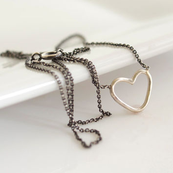 Oxidized Silver Necklace, Delicate Jewelry, Layering Necklace, Layering Jewelry, Heart Necklace