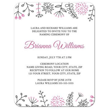 Cute, pink doodle flowers and nature elements name giving (naming) ceremony invitation