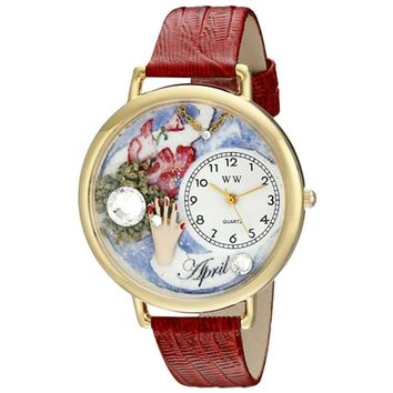 SheilaShrubs.com: Unisex Birthstone: April Red Leather Watch G-0910004 by Whimsical Watches: Watches