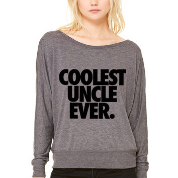 Coolest Uncle Ever WOMEN'S FLOWY LONG SLEEVE OFF SHOULDER TEE