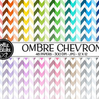 50% off SALE!! 48 Ombre Chevron Digital Paper • Rainbow Digital Paper • Commercial Use • Instant Download • #CHEVRON-107-O