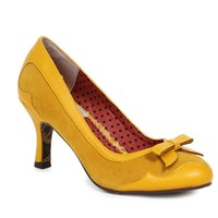 Sexy Yellow Bow Accent Chunky Single Soles Faux Leather