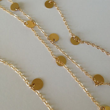 48 or 52 Inch - Courtney Cox Cougar Town Necklace -Tiny Discs Long 14k Gold Disco Necklace - Celebrity Style