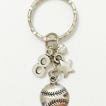 All Star Keychain, Softball Keychain, Softball gift, Softball, Softball Charm, Softball Team Gift, Softball Coach gift, Softball Player