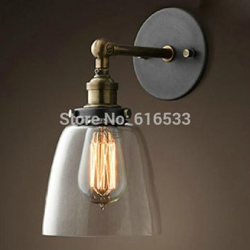 Loft Vintage American Industrial Lustre Glass Copper Edison Wall Sconce Lamp Bathroom Beside Bedroom Home Decor Lighting Fixture