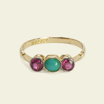 Edwardian Ruby and Turquoise Ring