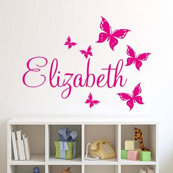 Personalize Wall Sticker Butterflies Vinyl Art Decals Customized Name Wall Stickers For Bedroom Decor