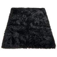 Black Bear 012 Faux Fur Area Rug - #Y9705 | LampsPlus.com