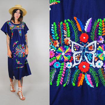 vtg EMBROIDERED Oaxacan Sundress FLORAL Mexican 70's cotton Butterfly Boho Ethnic Hippie