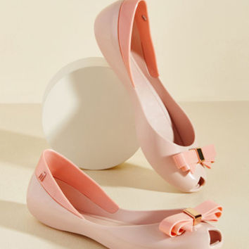 Bow Out of Your Way Peep Toe Flat in Pink | Mod Retro Vintage Flats | ModCloth.com