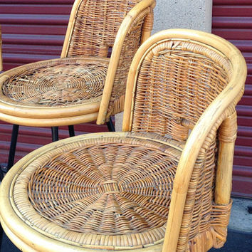 Mid Century Rattan Bar/Counter Swiveling Stools