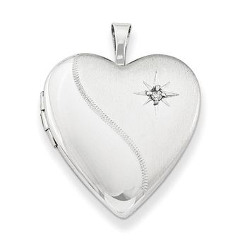 Sterling Silver Rhodium-Plated 20mm Diamond Heart Locket Pendant Necklace, w/18-Inch Chain