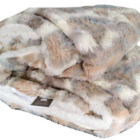 Tache Luxurious Russian Lynx Faux Fur Throw Blanket