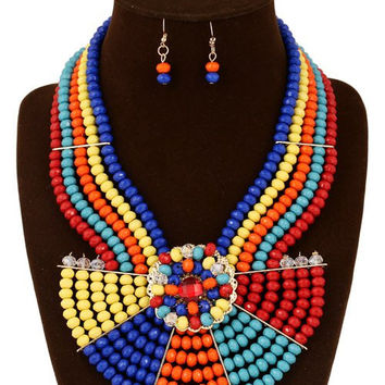 Artificial Ruby Beaded Bohemian Jewelry Set