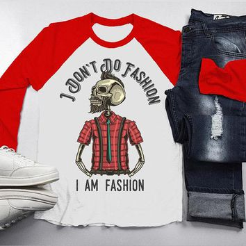 Men's Hipster Skull Raglan I Am Fashion Funny Graphic Shirt Plaid Flannel 3/4 Sleeve