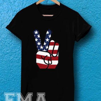 american flag peace  ,T shirt for women and men