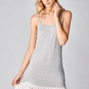 Round Scoop Neck Knit Dress Extender In Gray