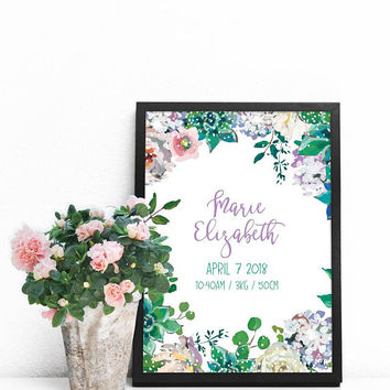 Birth announcement template, Personalized printable sign, Digital birth stats, Succulent nursery art download Purple and green nursery decor