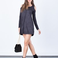 Suede Cold Shoulder Dress