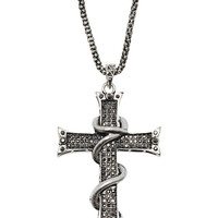 Studded Cross Necklace in Gunmetal – bandbcouture.com