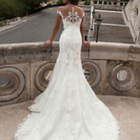 Sheer Neck Slim Lace Bridal Wedding Dress Gown Custom Size 0 2 4 6 8 10 12 14 16