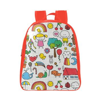 Rainbows & Stuff Kid's Red Small Leather School Backpack