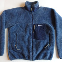 Vintage Patagonia Fleece jacket S blue deep pile coat