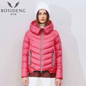 winter jacket short down coat women's clothing outwear contrast colors hooded wide-waiste big collar H style
