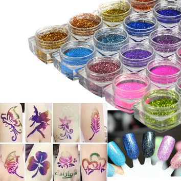 25pcs Laser Nail Glitter Powder Tattoo Pigment Set Kits Body Arts Tattoo 25 Colors Professional Beauty Makeup Supplies LA435