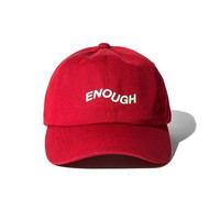 Red ENOUGH Snapback Baseball Cap