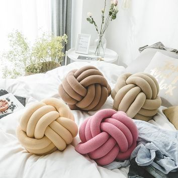 iDouillet Trendy Handmade Round Knot Pillow Jersey Knit Decorative Ball Floor Cushion Nursery Decor Kids' Plush Throw Pillow