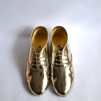 Metallic Gold Oxfords